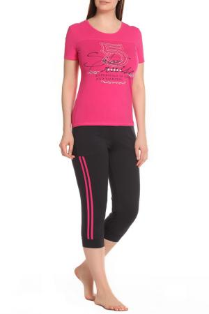 Комплект: футболка, бриджи ALFA. Цвет: фуксия, темно-серый