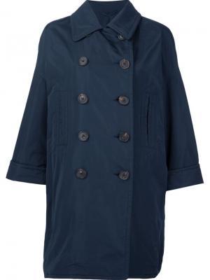 Объемное двубортное пальто Brunello Cucinelli. Цвет: синий