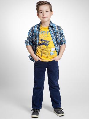 Рубашка PlayToday. Цвет: синий, голубой, желтый, белый