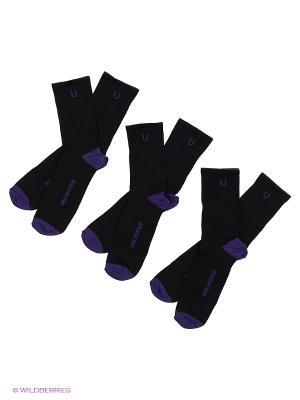 Носки спортивные 3 пары Unlimited. Цвет: черный, индиго