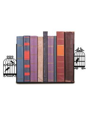 Декоративная подставка-ограничитель для книг Клетки птиц Magic Home. Цвет: черный