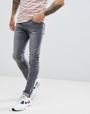 LDN DNM Серые джинсы с напылением. Цвет: серый