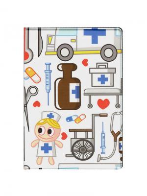 Папка для медицинского полиса Cartoon Logo Tina Bolotina. Цвет: синий, светло-серый, белый