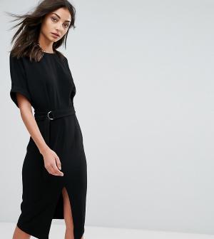 ASOS Tall Тканое платье миди с D-образным кольцом. Цвет: черный