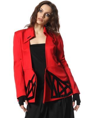 Костюм Fashion Police ярко-красный из шерсти с шелком отделкой натуральной кожи SEANNA. Цвет: красный