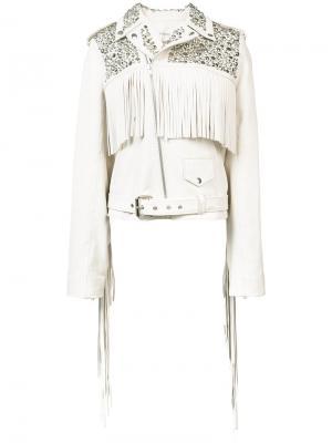 Байкерская куртка с заклепками Rodarte. Цвет: белый