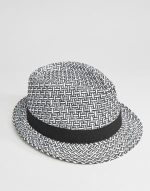 7X Соломенная шляпа в стиле 7-х. Цвет: черный