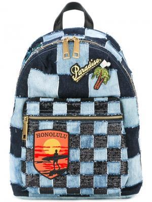 Джинсовый рюкзак лоскутного кроя Biker Marc Jacobs. Цвет: синий