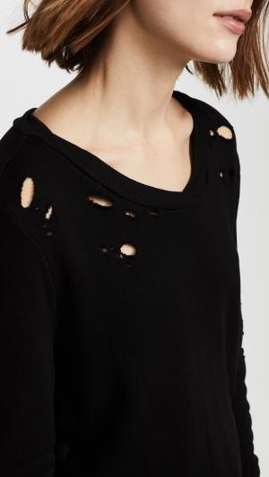 Side Slit Destroyed Sweatshirt Pam & Gela