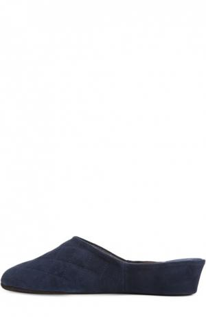 Замшевые домашние туфли с прострочкой Homers At Home. Цвет: темно-синий