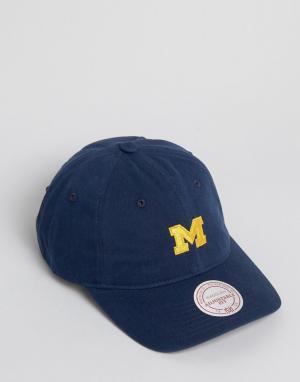 Mitchell & Ness Бейсболка с регулируемым ремешком Michigan. Цвет: темно-синий