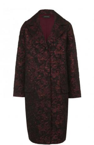 Жаккардовое пальто свободного кроя St. John. Цвет: фиолетовый