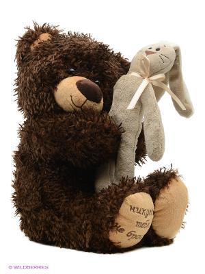 Медвежонок Чиба с зайцем Fancy. Цвет: темно-коричневый