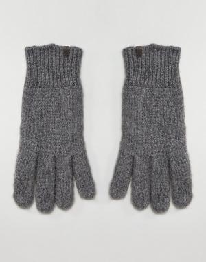 Esprit Меланжевые перчатки овсяного цвета. Цвет: серый