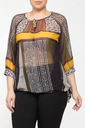 Рубашка-блузка Elena Miro. Цвет: коричневый, синий, желтый