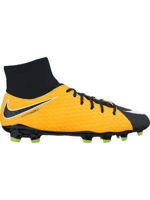 Бутсы HYPERVENOM PHELON 3 DF FG Nike. Цвет: белый, оранжевый