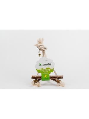 Игрушка для птиц Качели 3D хлопковый шнур средняя Zoobaloo. Цвет: коричневый