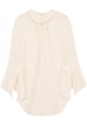 Приталенная шелковая блуза с укороченным рукавом Victoria Beckham. Цвет: молочный