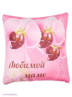 Подушка Игрушка Любимой маме Оранжевый кот. Цвет: розовый