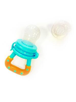 Жевалка детская Вкусняшка 1 шт. с силиконовыми насадками 2 (ПП, силикон) 4+ ПОМА. Цвет: голубой, прозрачный, оранжевый