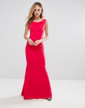 City Goddess Платье-бандо макси с юбкой-годе. Цвет: розовый