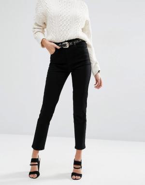 ASOS Черные джинсы слим с завышенной талией FARLEIGH. Цвет: черный