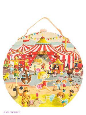 Пазл большой в круглом чемоданчике Цирк Janod. Цвет: оранжевый, желтый, красный