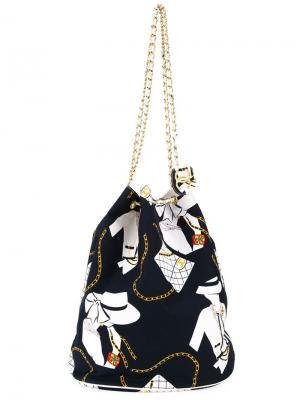 Сумка-мешок с принтом Jumbo Chanel Vintage. Цвет: синий