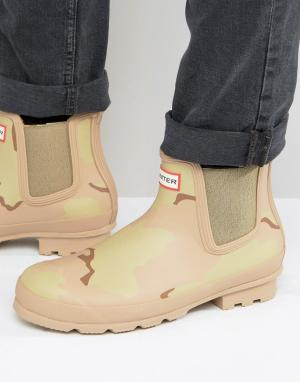 Hunter Ботинки челси с камуфляжным принтом Original. Цвет: бежевый