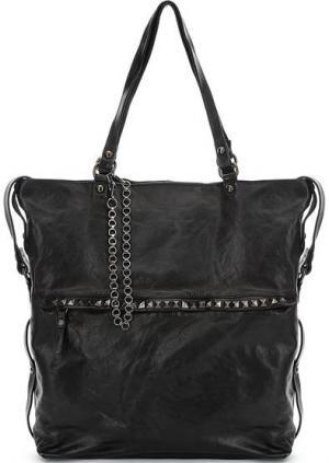 Черная кожаная сумка с карманом на клапане Campomaggi. Цвет: черный