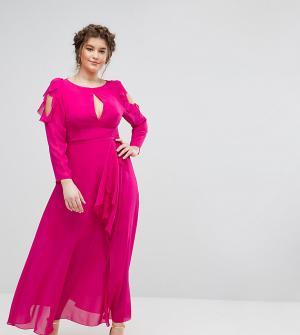 Truly You Платье макси с вырезами на плечах, оборками и поясом. Цвет: розовый
