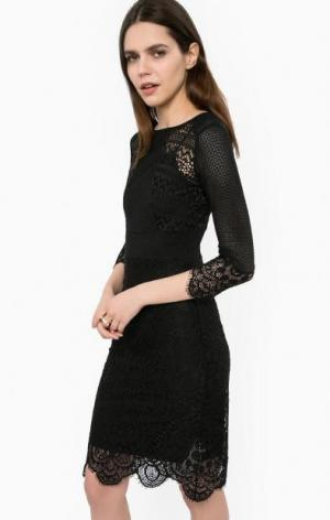 Ажурное черное платье с подкладкой Liu Jo. Цвет: черный