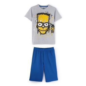 Пижама, 8-14 лет SIMPSONS. Цвет: серый + синий