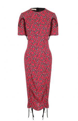 Приталенное платье-миди с цветочным принтом Marni. Цвет: розовый