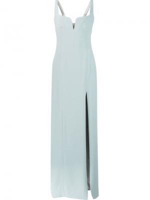 Вечернее платье с резным воротом Galvan. Цвет: зелёный