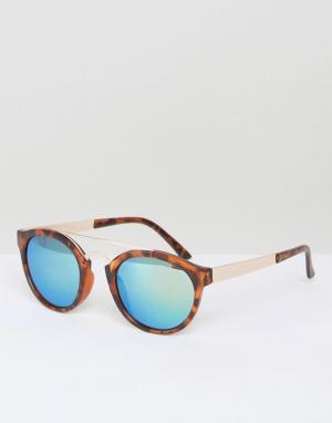 AJ Morgan Круглые солнцезащитные очки в черепаховой оправе Raja. Цвет: коричневый