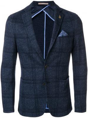 Пиджак в клетку с нагрудным платком Paoloni. Цвет: синий