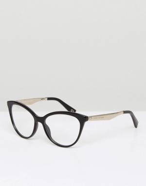 Marc Jacobs Очки с прозрачными стеклами в черной оправе кошачий глаз. Цвет: черный
