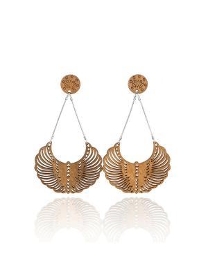 Серьги Феникс Honey Jewelry. Цвет: светло-коричневый