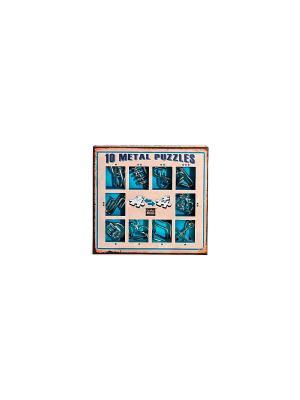Набор из 10 металлических головоломок (синий) Eureka! 3D Puzzle. Цвет: серебристый