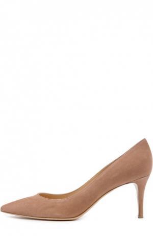 Замшевые туфли Gianvito 70 на шпильке Rossi. Цвет: бежевый