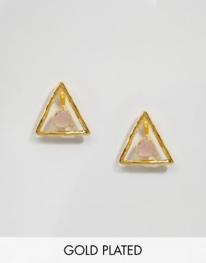 Ottoman Hands Треугольные серьги с розовым кварцем. Цвет: золотой