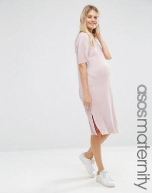 ASOS Maternity Плиссированное платье-футболка для беременных. Цвет: розовый