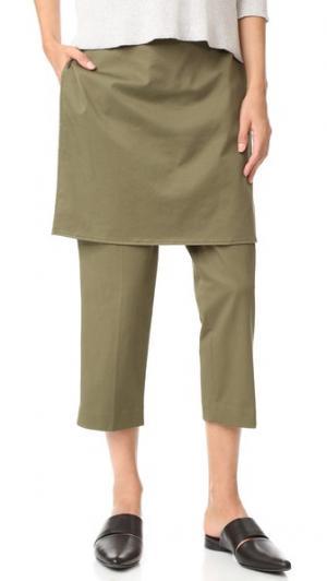 Укороченные брюки с фартуком 3.1 Phillip Lim. Цвет: оливковый