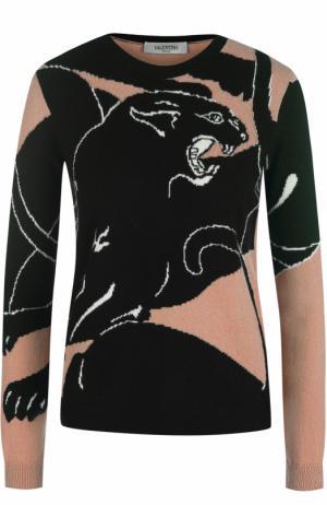 Кашемировый пуловер с принтом Valentino. Цвет: бежевый