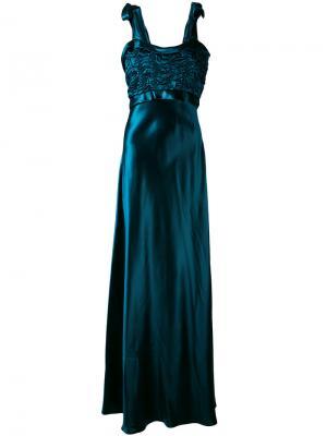 Длинное платье с металлическим блеском Maison Margiela. Цвет: синий
