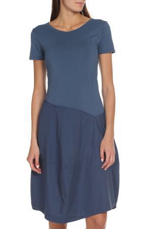 Платье-баллон с короткими рукавами EUROPEAN CULTURE. Цвет: светло-синий