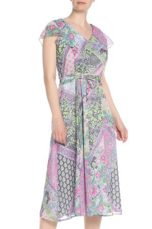 Принтованное платье-миди с запахом Gelco. Цвет: none
