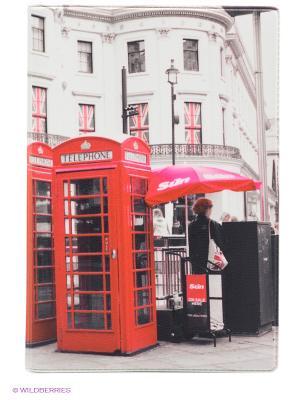 Обложка для паспорта Лондонские будки Mitya Veselkov. Цвет: белый, серо-коричневый, красный