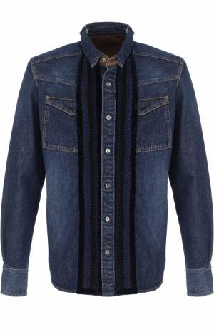 Джинсовая рубашка с декоративной отделкой Sacai. Цвет: синий